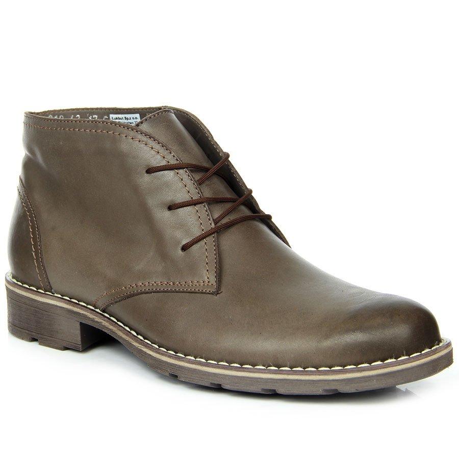 5812719a Skórzane buty męskie ocieplane sznurowane brązowe Łukbut 810 18757 ...