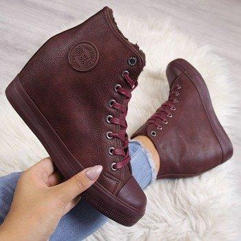 b300ce0e Sneakersy na koturnie z eko skóry ocieplane bordowe Big Star BB274303